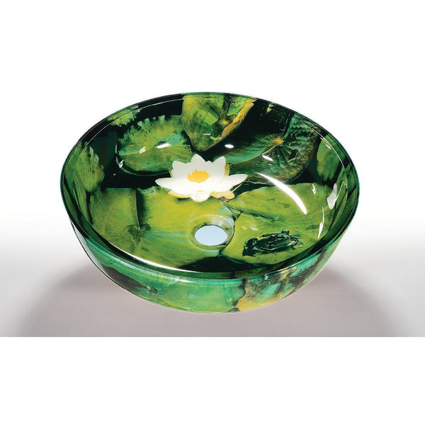 Legion Furniture Tempered Glass Vessel Sink Bowl - Lotus Pad ZA-62 - BathVault