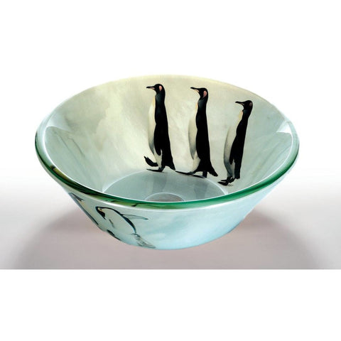 Legion Furniture Tempered Glass Vessel Sink Bowl - Penguin Frosted ZA-75 - BathVault
