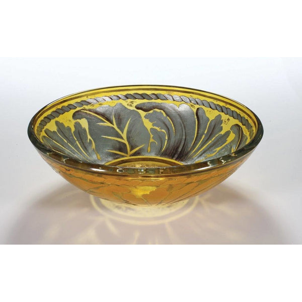 Legion Furniture Tempered Glass Vessel Sink Bowl - Golden Leaf ZA-83 - BathVault