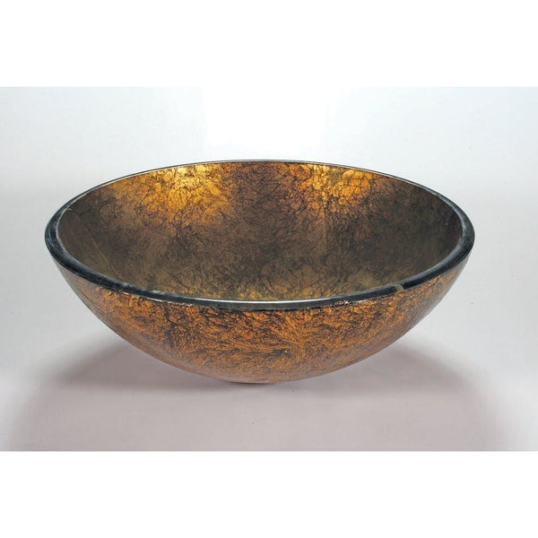 Legion Furniture Tempered Glass Vessel Sink Bowl - Antique Gold ZA-88 - BathVault