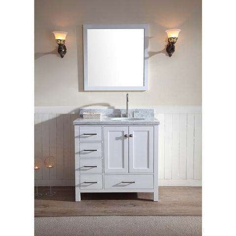 "ARIEL Cambridge 37"" Vanity Set Single Right Offset Sink A037S-R - BathVault"
