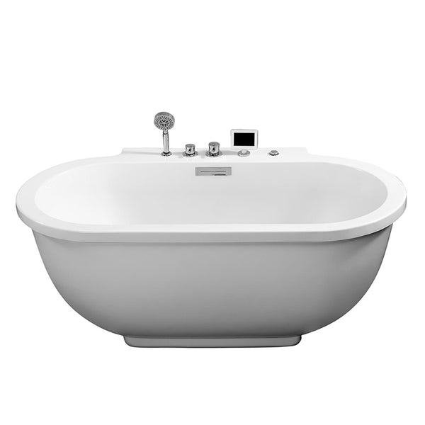 ARIEL Freestanding Whirlpool Bathtub - Platinum AM128JDCLZ - BathVault