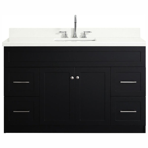 ARIEL HAMLET 55 IN. SINGLE SINK VANITY WITH WHITE QUARTZ COUNTERTOP IN WHITE - BathVault