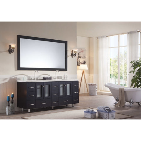"ARIEL Americano 73"" Double Sink Black Vanity Set B073D-BLK - BathVault"