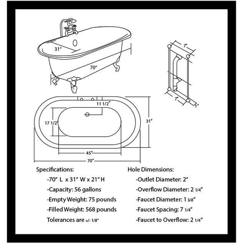 "Cambridge Plumbing Acrylic Double Ended Clawfoot Bathtub 70"" X 30"" - BathVault"