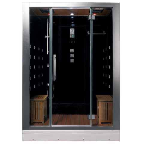 "Ariel Platinum DZ972F8 Steam Shower Black 59""W x 32""D x 87""H - BathVault"