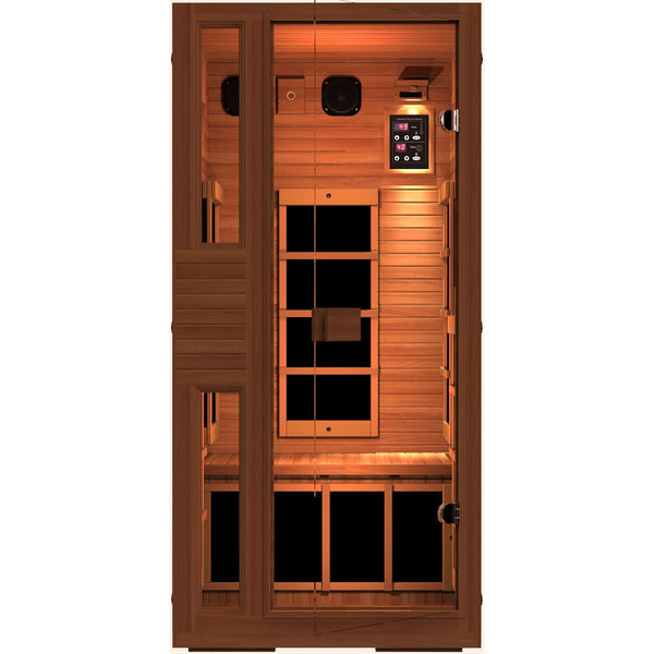 JNH Ensi RED™ 1 Person Zero-EMF Far Infrared Sauna, Top Grade Red Cedar - BathVault