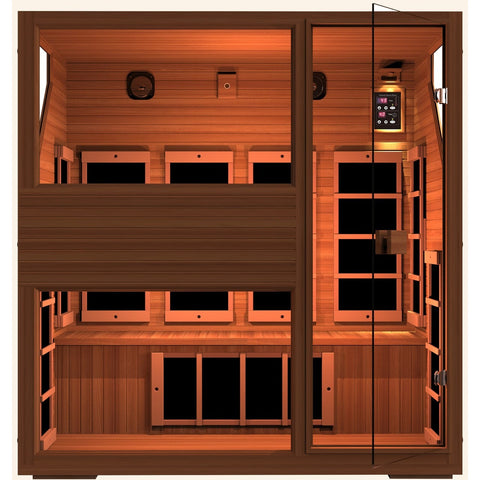 Ensi RED™ 4 Person Zero-EMF Far Infrared Sauna. Top Grade Red Cedar - BathVault