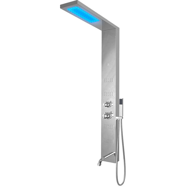 Nezza Fin LED Shower Panel - Waterfall Shower Head, Hand Shower, 4 Body Jets, Chrome - BathVault