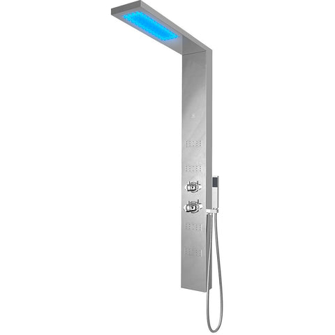 Nezza Fin LED Shower Panel - Waterfall Shower Head, Hand Shower, 4 Body Jets, Chrome