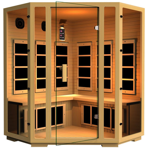 JNH Lifestyles Joyous Four Person Corner Infrared Sauna - BathVault