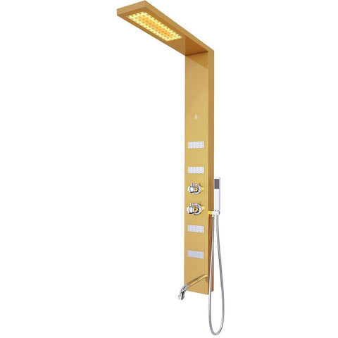 Nezza SIA LED Shower Panel - Waterfall Shower Head, Hand Shower, 4 Body Jets, Gold - BathVault