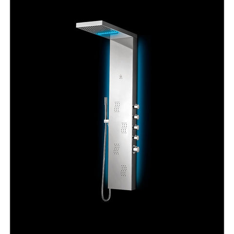 Nezza Wave LED Shower Panel - Waterfall Shower Head, 4 Body Jets, Brushed Nickel