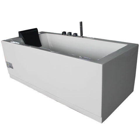 Eago 60 in. Acrylic Flatbottom Whirlpool Bathtub in White - BathVault