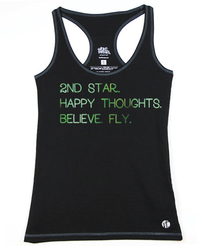 2nd Star. Happy Thoughts. Believe. Fly. Racer - Raw Threads Athletics