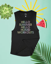 Hello Summer Hello Humid Workouts Flowy Scoop Tank