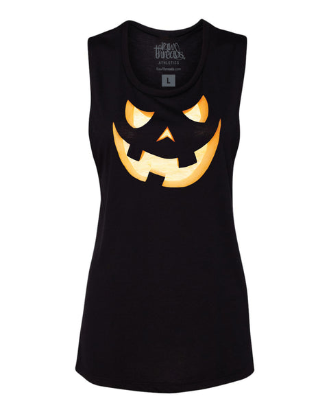 Scary Pumpkin Flowy Scoop Tank