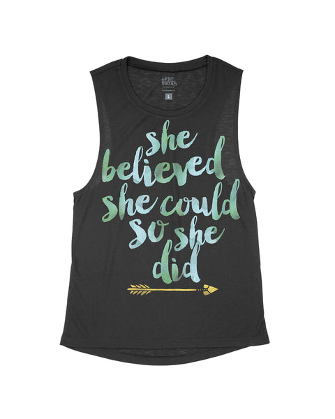She Believed she could so she did Flowy Scoop Tank