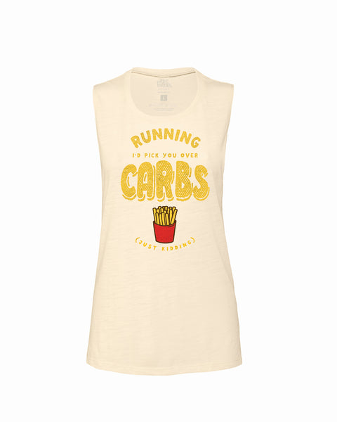 RUNNING I love you more than CARBS (just kidding) Flowy Scoop Tank