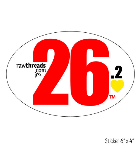 Red 26.2 Yellow Heart Sticker