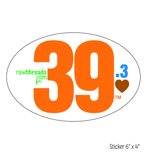 Orange 39.3 Heart Sticker