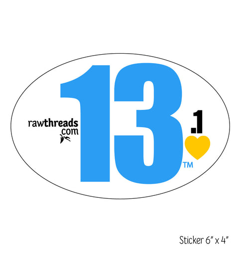 Blue 13.1 Yellow Heart Sticker