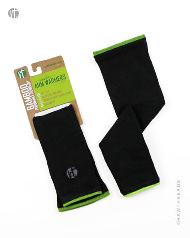 Bamboo Arm Warmer Black and Lime - Raw Threads Athletics