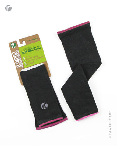 Bamboo Arm Warmer Gunmetal & Pink - Raw Threads Athletics