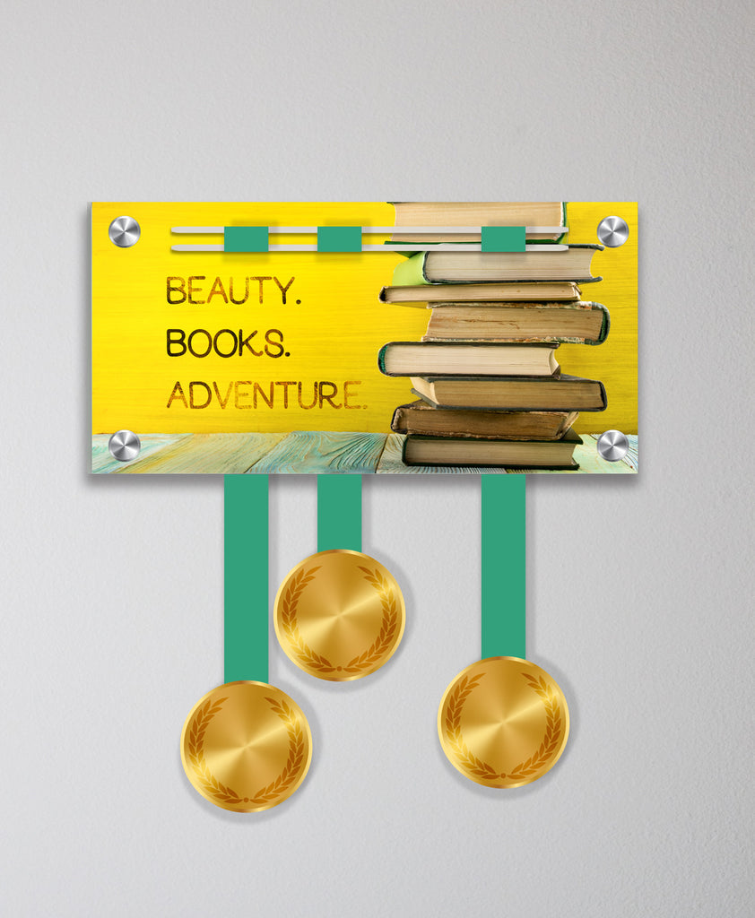 Acrylic Art: Beauty. Books. Adventure. Medal Display