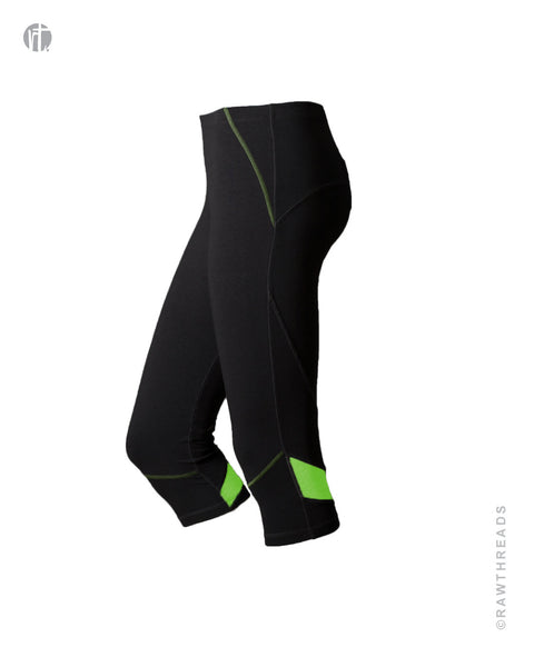 Black Performance Crop with Lime Accents