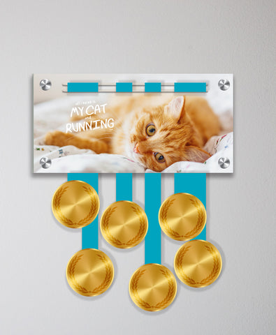 Acrylic Art: All I Need is my Cat and Running Medal Display