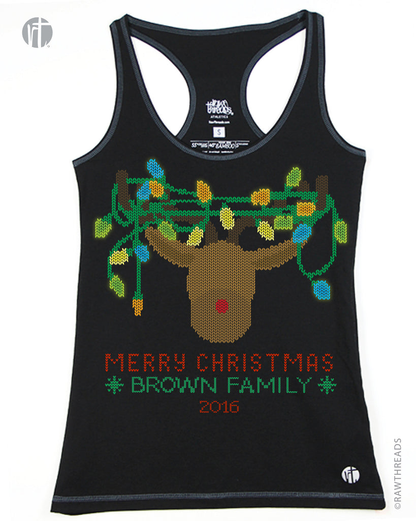 Personalized Colored Lights Reindeer Christmas Sweater Racer