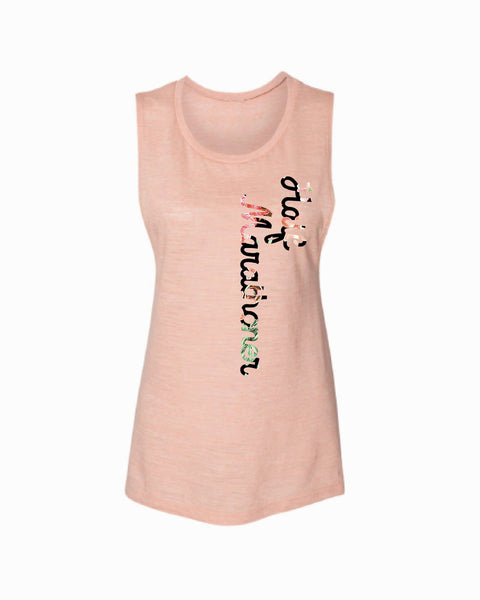 Half Marathoner Flowers Flowy Scoop Tank