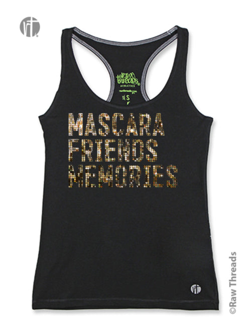 Mascara. Friends. Memories. (Gold Sparkle) Racer