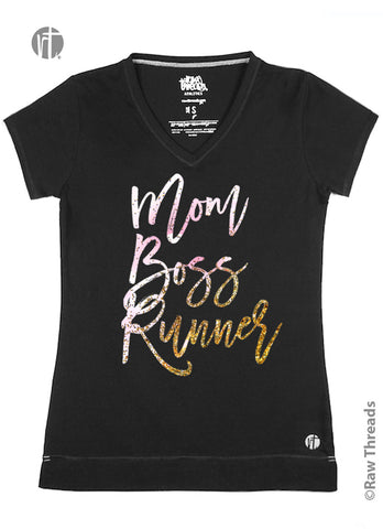 Mom Boss Runner (Pink-Gold Glitter) V