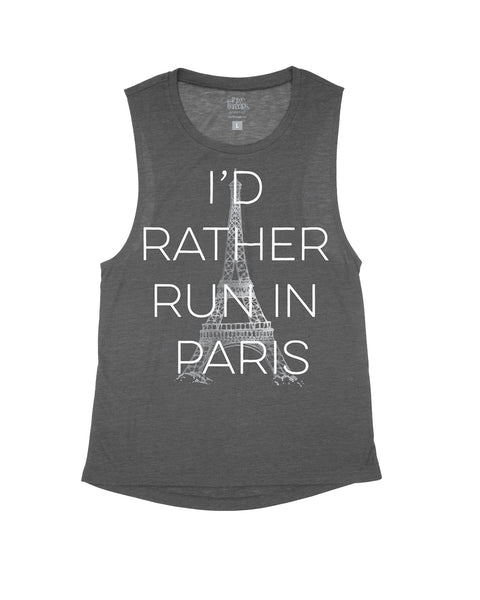 I'd Rather Run in Paris Flowy Scoop Tank