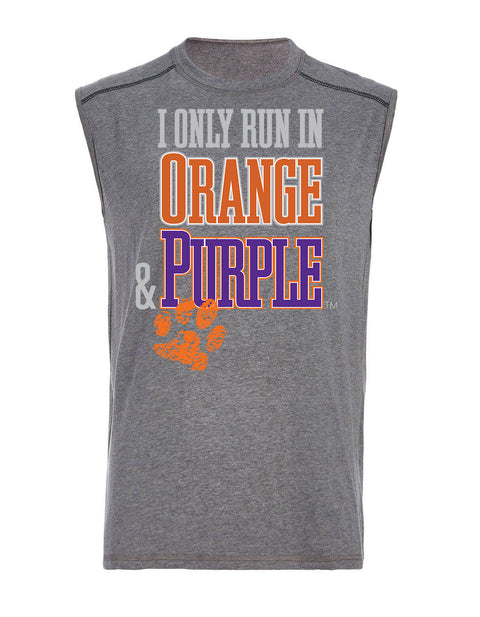 I Only Run in Orange & Purple Sleeveless Mens Tank
