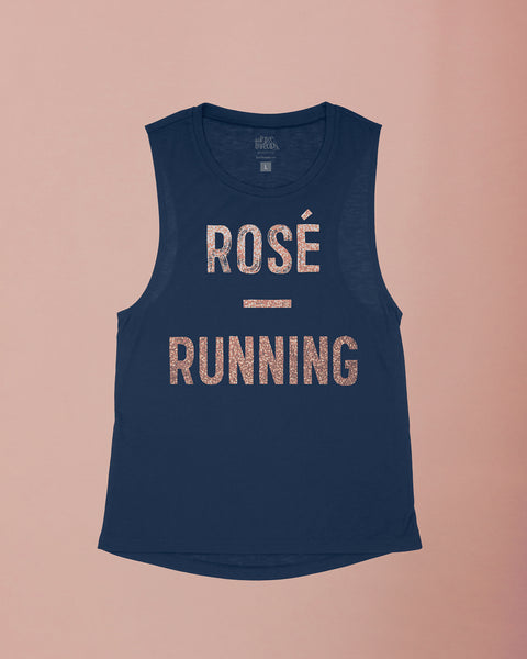 Rosé and Running Flowy Scoop Tank