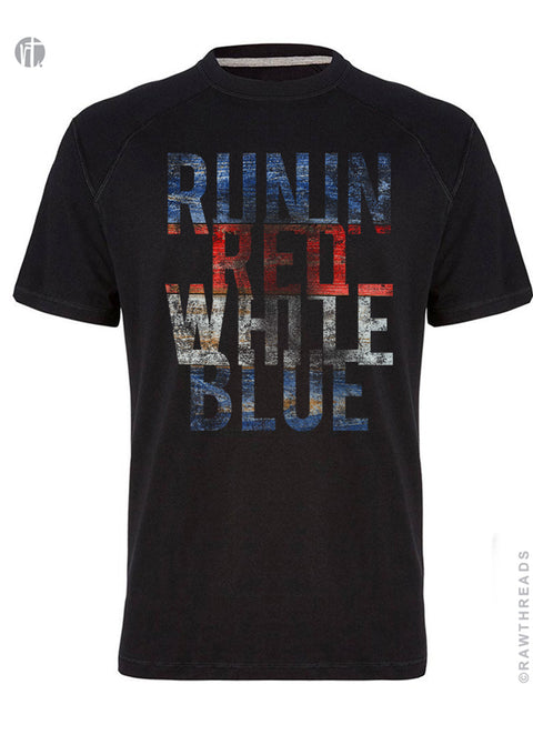 Run in Red White Blue Panels Crew
