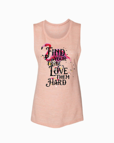 Find your Tribe Love them Hard (Flamingo) Flowy Scoop Tank