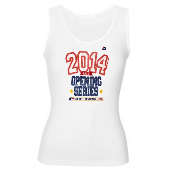 MLB Majestic Women's White 2014 Opening Series Australia Ribbed Tank Top T-Shirt