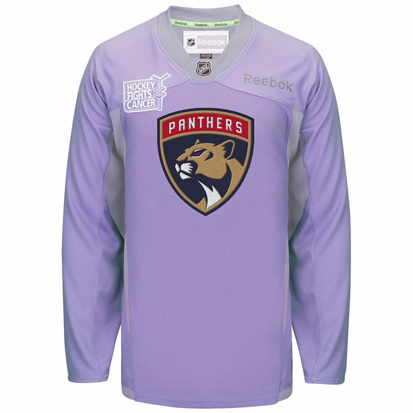 "Florida Panthers NHL Reebok Purple ""Hockey Fights For Cancer"" Practice Jersey"
