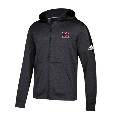 Miami RedHawks NCAA Adidas Men's Black Climawarm Team Issue Full Zip Hoodie