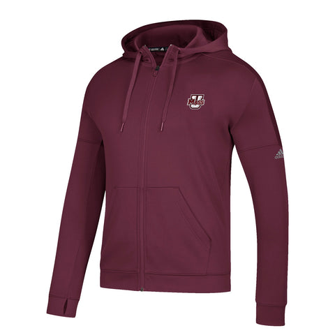 UMass Minutemen NCAA Adidas Men's Burgundy Climawarm Team Issue Full Zip Hoodie