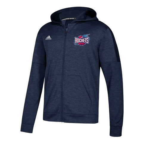 Houston Rockets NBA Adidas Men's Navy Blue Climawarm Team Issue Full Zip Hoodie