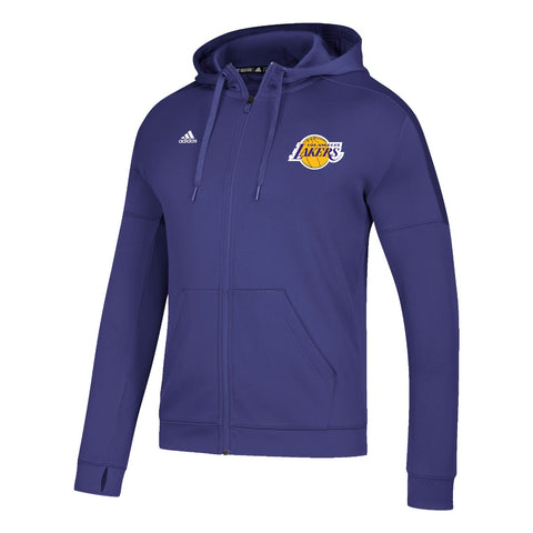 Los Angeles Lakers NBA Adidas Men's Purple Climawarm Team Issue Full Zip Hoodie