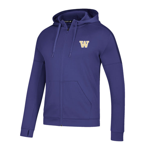 Washington Huskies NCAA Adidas Men's Purple Climawarm Team Issue Full Zip Hoodie