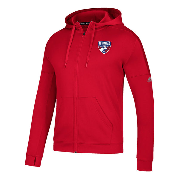 FC Dallas MLS Adidas Men's Red Climawarm Climawarm Team Issue Full Zip Hoodie