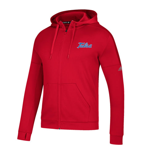 Tulsa Golden Hurricane NCAA Adidas Men's Red Climawarm Climawarm Full Zip Hoodie