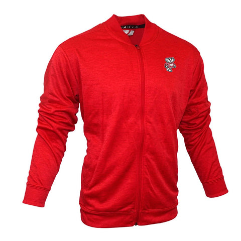 Wisconsin Badgers NCAA Adidas Men's  Red Bomber Fleece Jacket